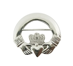 Silver Irish Claddagh Ring Lapel Pin
