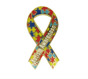 "New ""Autism Awareness"" Awareness Ribbon Lapel Pin"